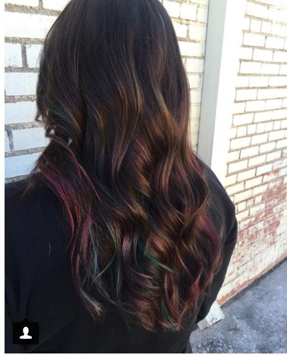 Oil slick inspired hair color