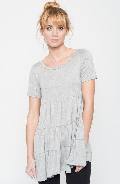 e1fa01103 short sleeve ruffled tiered tunic - Caralase