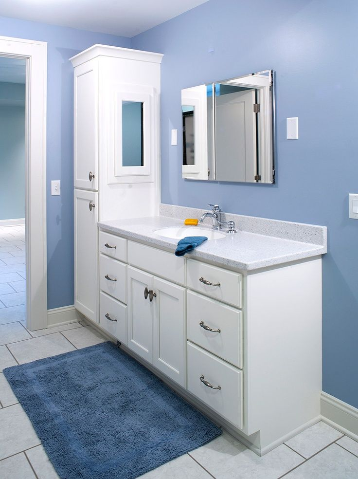 double bathroom vanity with attached tall cabinet  Vanity