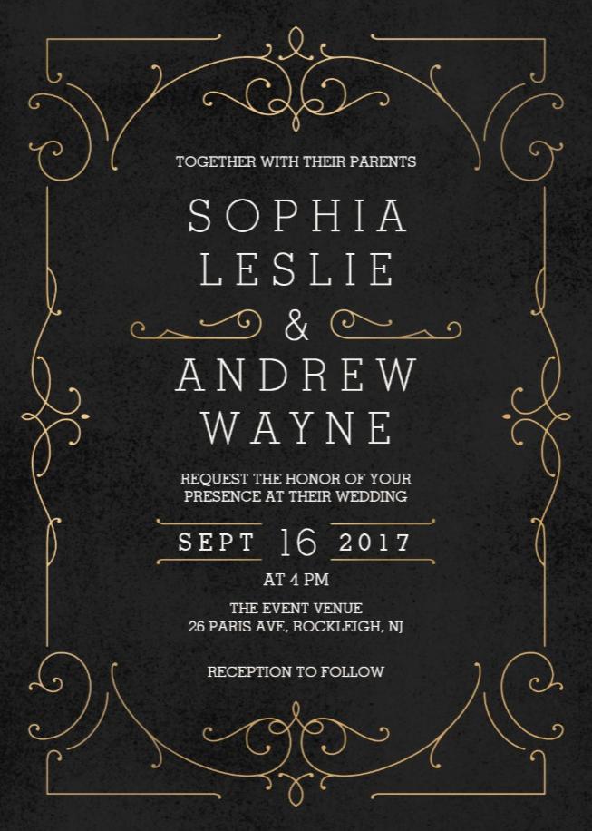 Gold Elegant Modern Classic Vintage Wedding Invitation Zazzle Com Classic Wedding Invitations Elegant Deco Wedding Invitations Art Deco Wedding Invitations