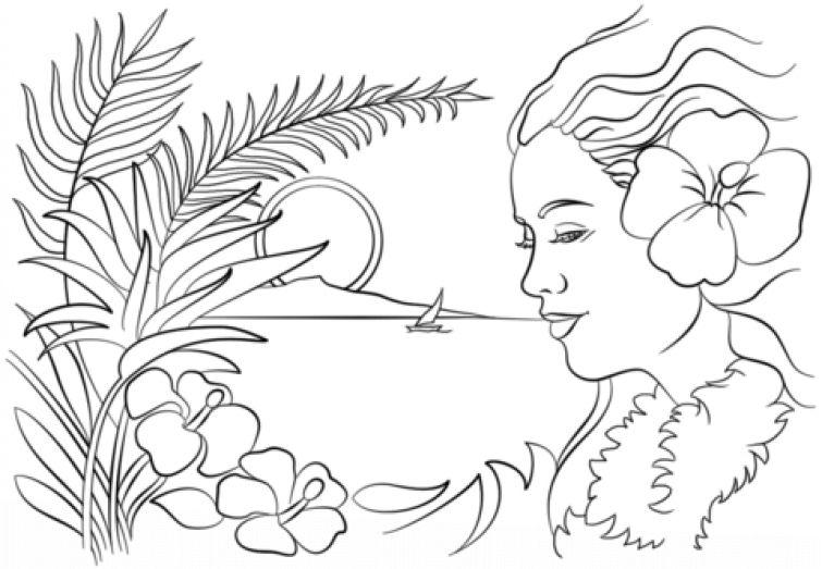 Beautiful sunset and Hawaiian woman coloring page Fun Coloring