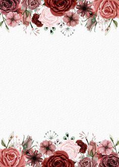 Rustic Burgundy Watercolor Floral Invitation