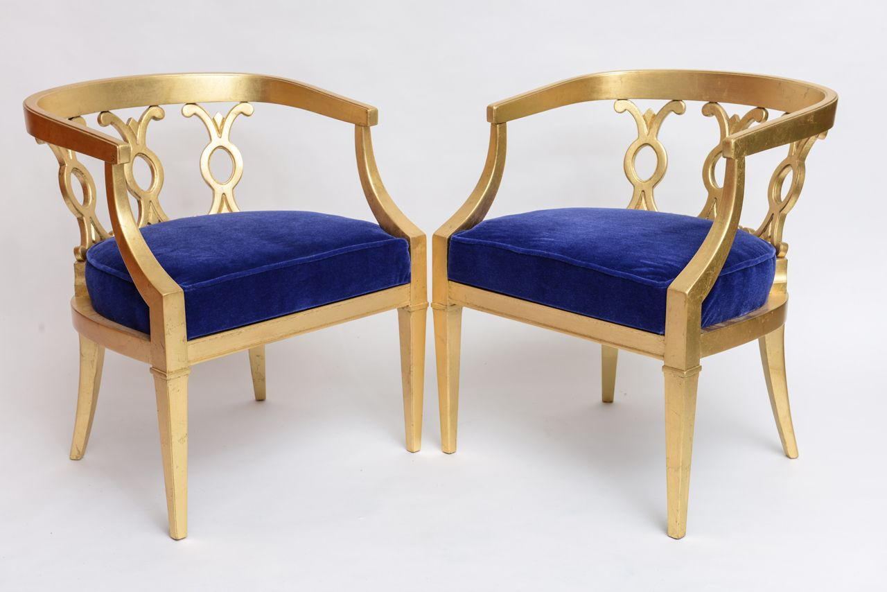 Ordinaire Pair Of Vintage Dorothy Draper Attribution Hollywood Regency Chairs Image 3