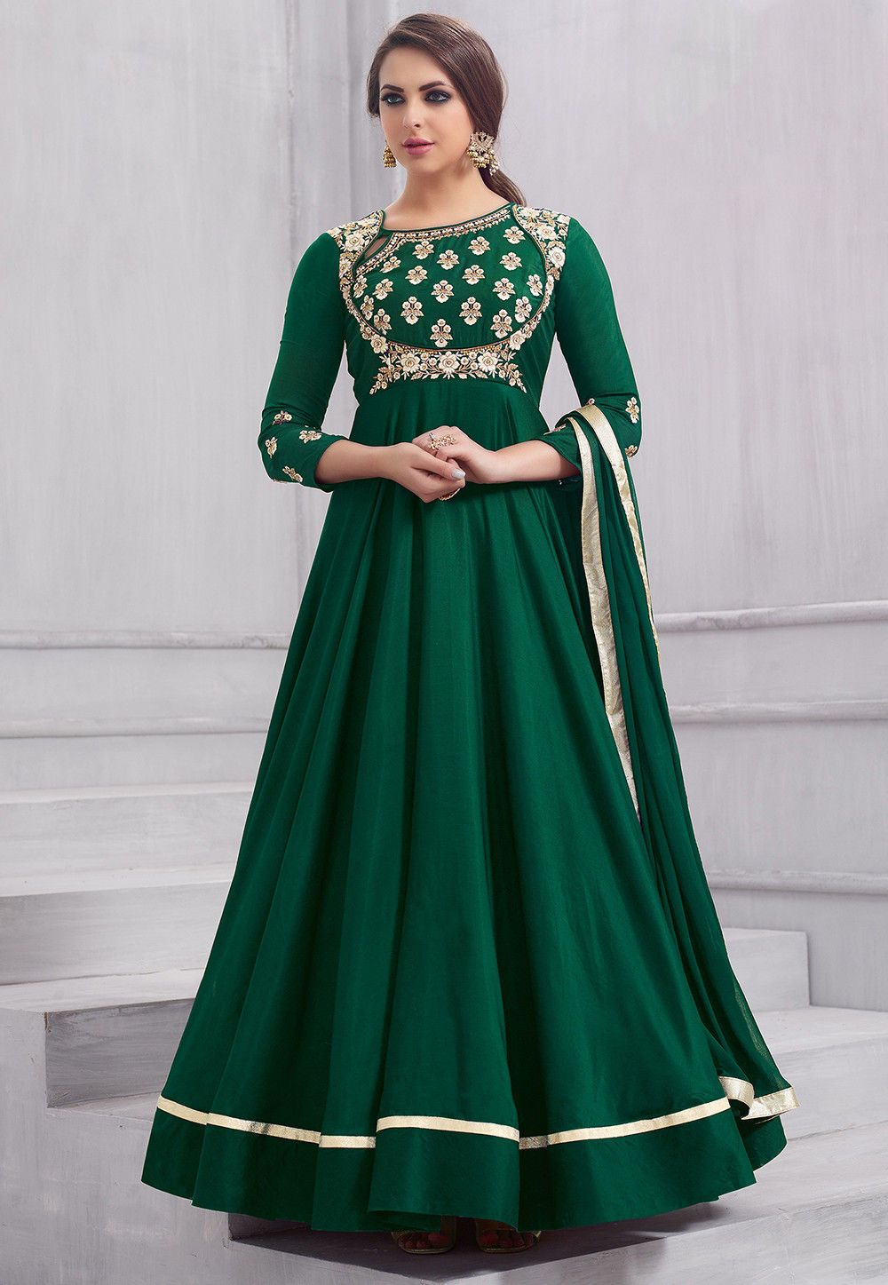 96784602c8 Buy Embroidered Taffeta Silk Abaya Style Suit in Dark Green online, Item  code: KBNQ239, Color: Green, Occasion: Wedding, Work: Contemporary, Resham,  ...