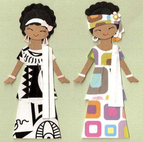 african american girl paper doll card topper set of