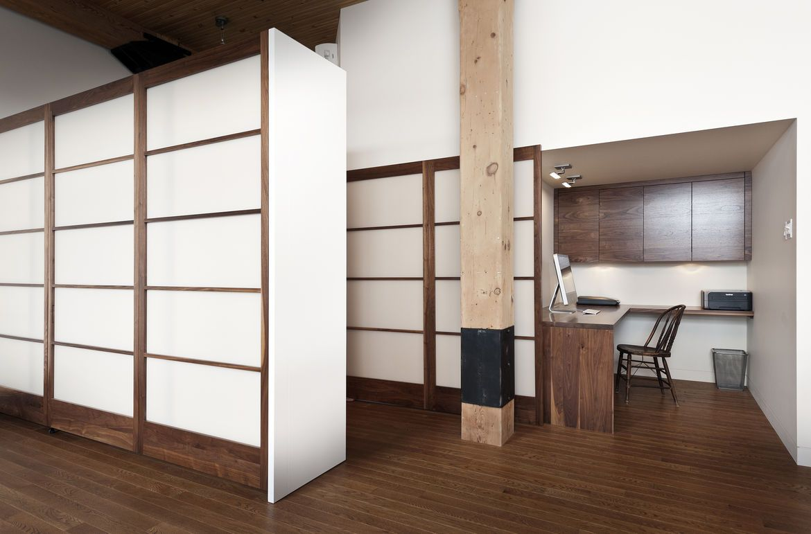 Shoji Inspired Storage In 850 Square Foot Montreal Apartment Renovation By Gepetto Apartment Renovation Built In Furniture Apartment Interior Design