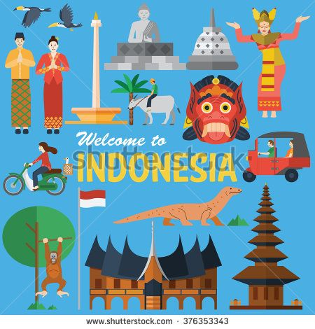 Flat design, Illustration of Indonesia Icons and landmarks  stock vector   indonesia in my