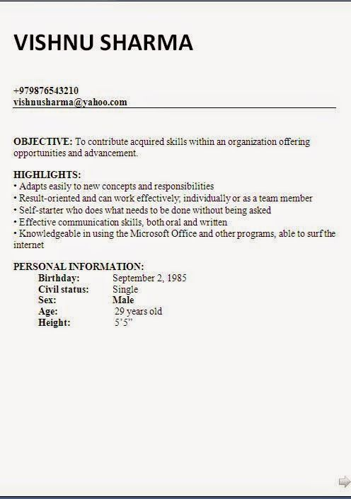 examples of cv s Sample Template Example ofExcellent Curriculum - Job Resume Format Download