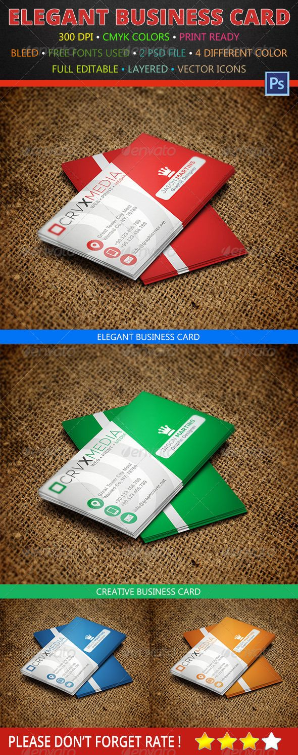 4 Color Creative Business Card 145 | Business cards, Fonts and ...