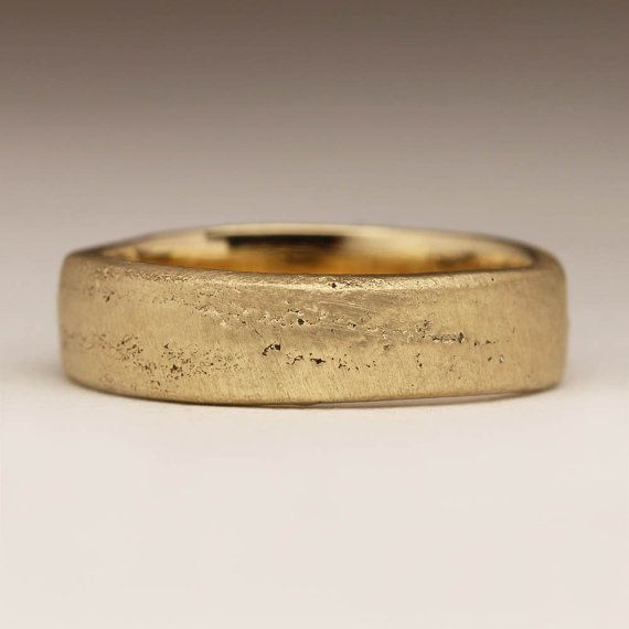 Twiggy Stehle cast in your own sand flat solid 9ct yellow gold ring unique ring