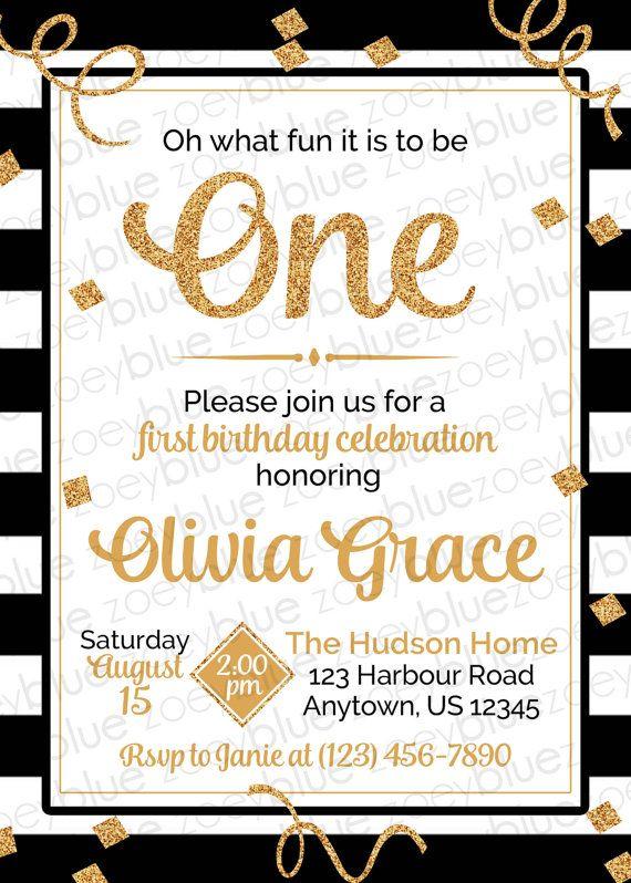 Black White Gold Girl First Birthday Invitation By ZoeyBlueDesigns