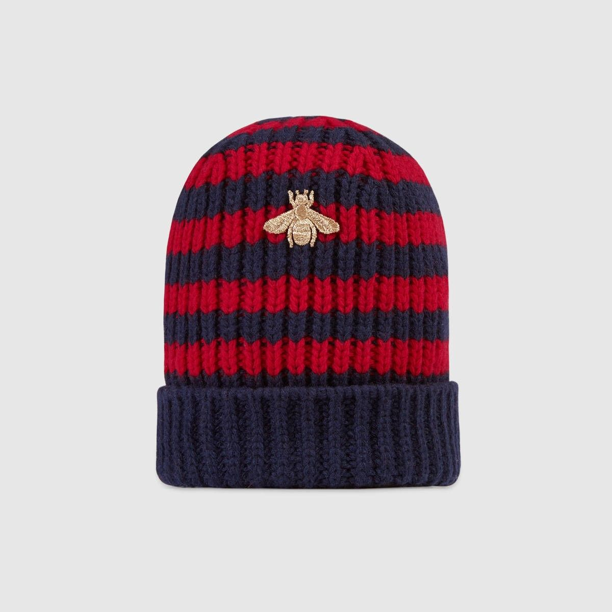 bee embroidered pom pom hat - Blue Gucci