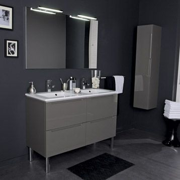 Meuble De Salle De Bains Neo Gris Smoke N 1 Leroy Merlin Lighted Bathroom Mirror Bathroom Mirror Bathroom Vanity
