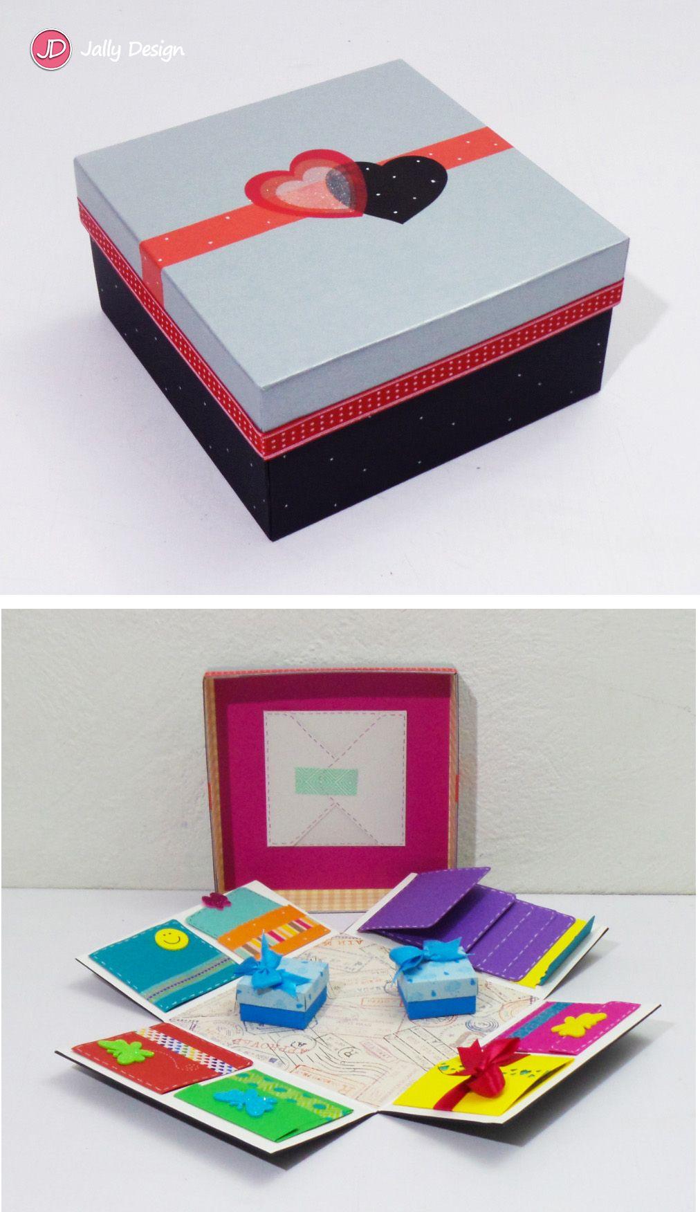 "Caja scrapbook ""Corazón negro"""