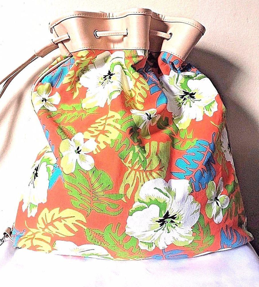 Sand N Sun Orange White Floral Drawstring Canvas Shoulder