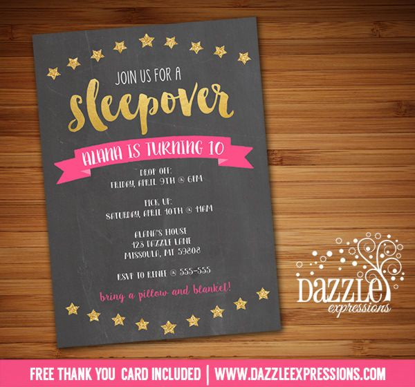 Printable pink and gold sleepover chalkboard birthday invitation printable pink and gold sleepover chalkboard birthday invitation slumber party glamping party spa gold glitter teen birthday party idea filmwisefo Images