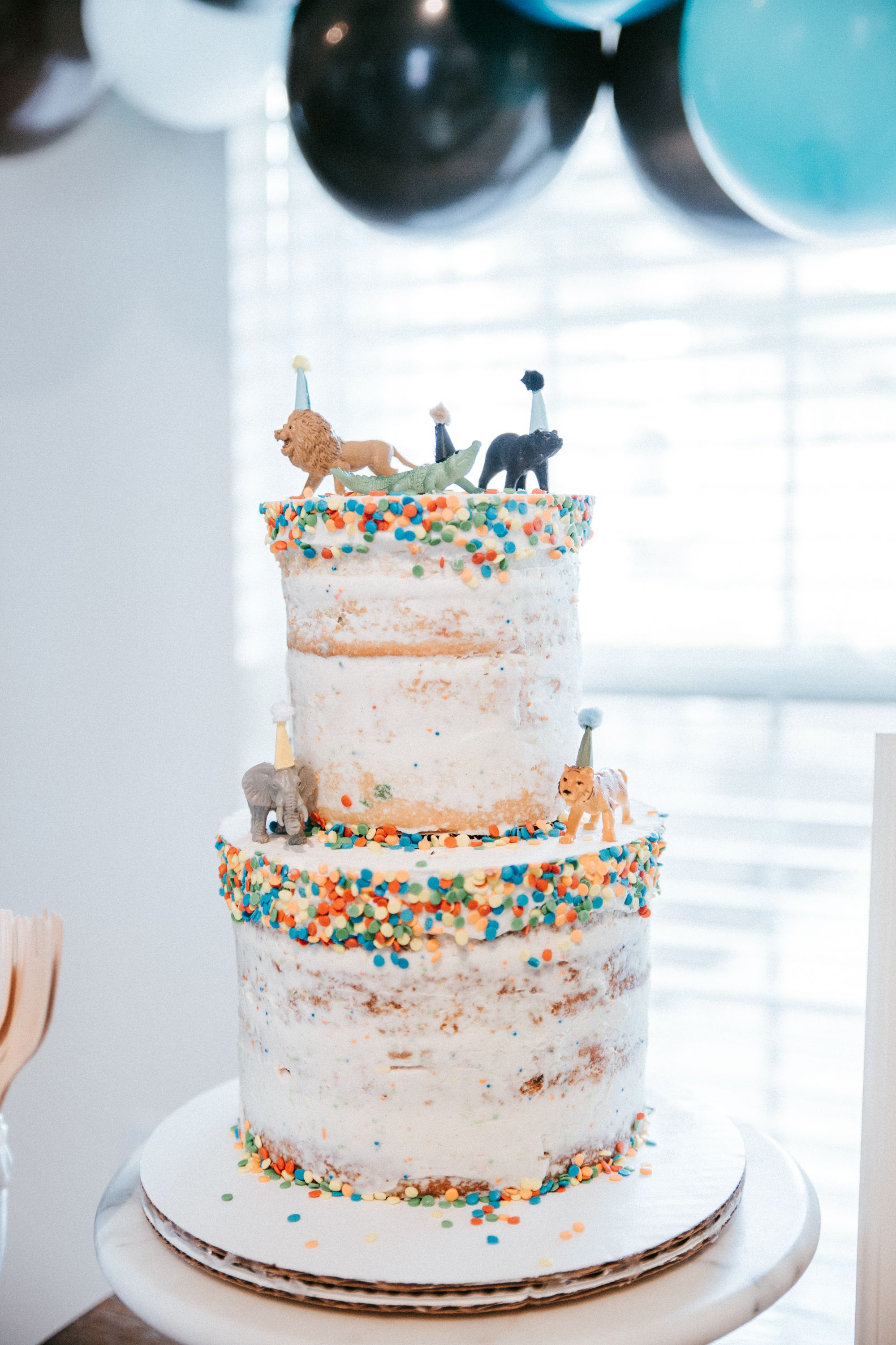 Naked Cake Party Animals Theme Sprinkles Hats Baby First Birthday