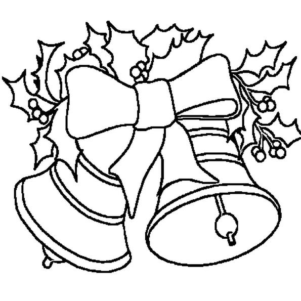 La cloche de Noël du dessin est décorée avec des branches de houx