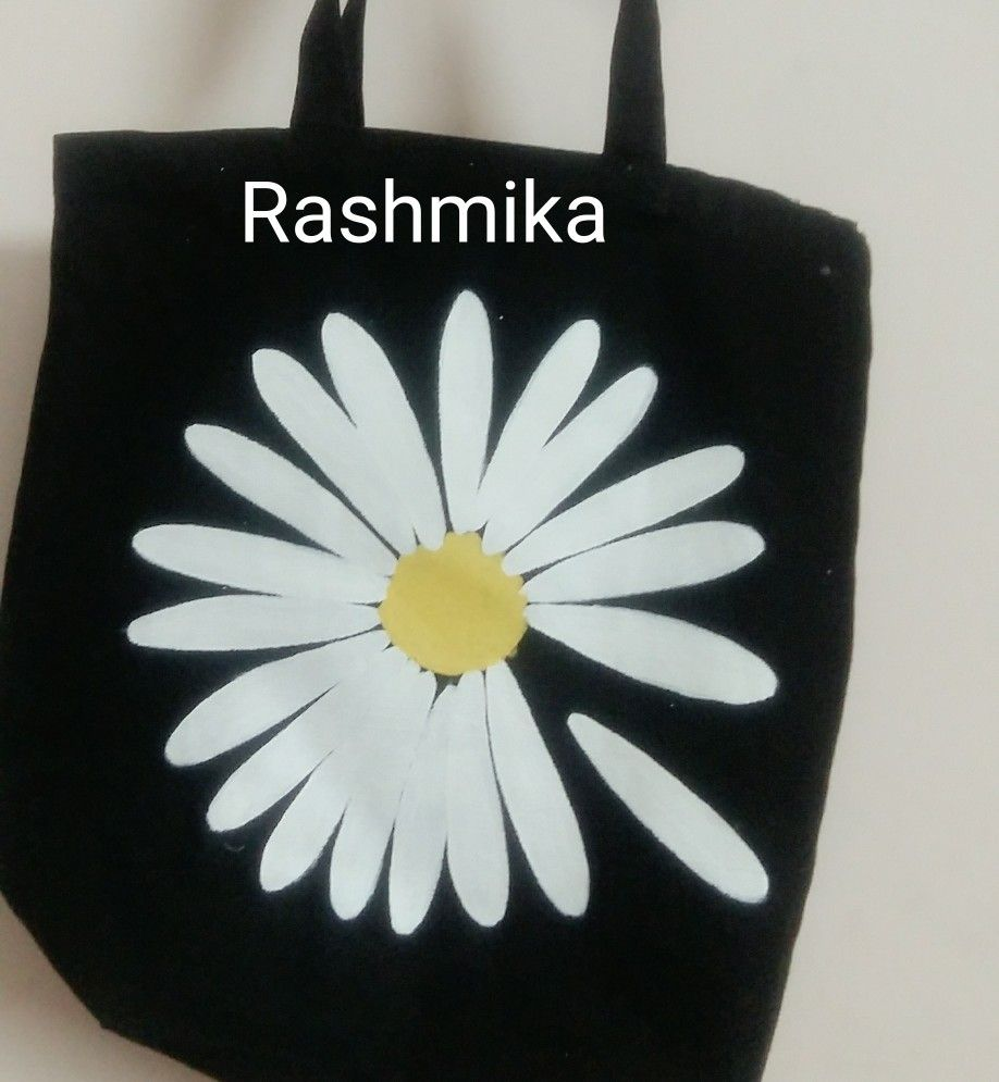 82bdc432cf Lily flower canvas bag by Rashmika  Lily flower  black bag  tote bag for  young girls design  floral design  fabric painting  canvas bag