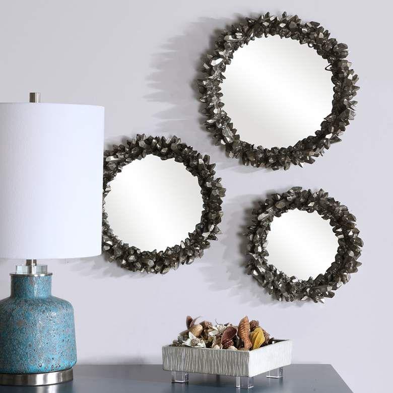 Uttermost Palais Silver 30 X 40 Beaded Wall Mirror In 2020 Round Wall Mirror Mirror Wall Wall Mirrors Set
