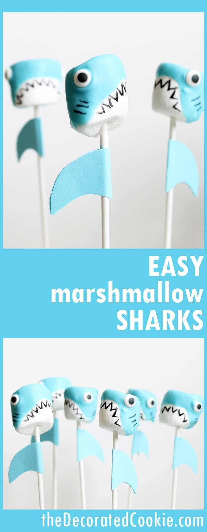 Shark marshmallow pops for shark week, a fun summer food idea.