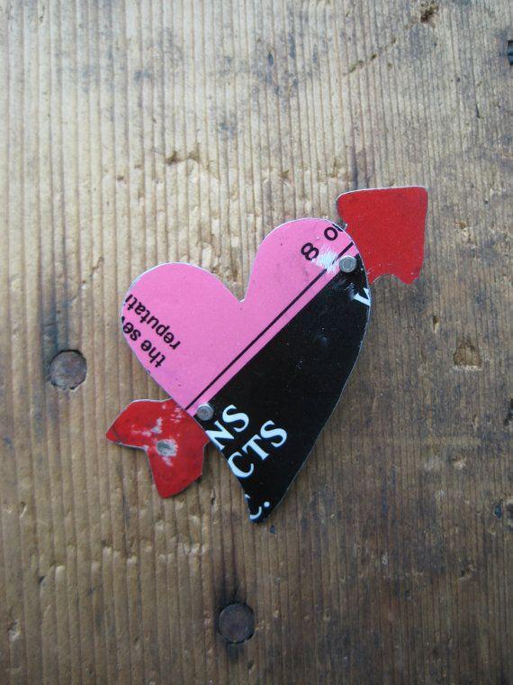 Vintage Reclaimed Upcycled Tin Heart & Arrow by hoitytoitydesigns, $15.00