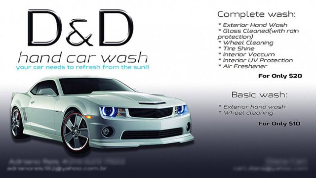 Interesting D D Hand Car Wash Business Cards Sample With Pictorial And Text Presentation On One Side Of The Car Hand Car Wash Car Wash Business Business Cards