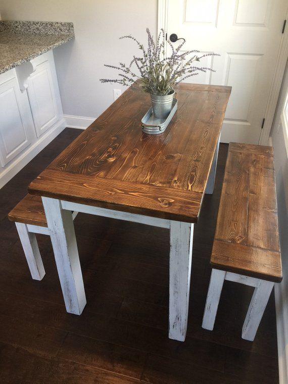 custom built rustic farmhouse table with benches rustic farmhouse table rustic kitchen tables on farmhouse kitchen table diy id=47285
