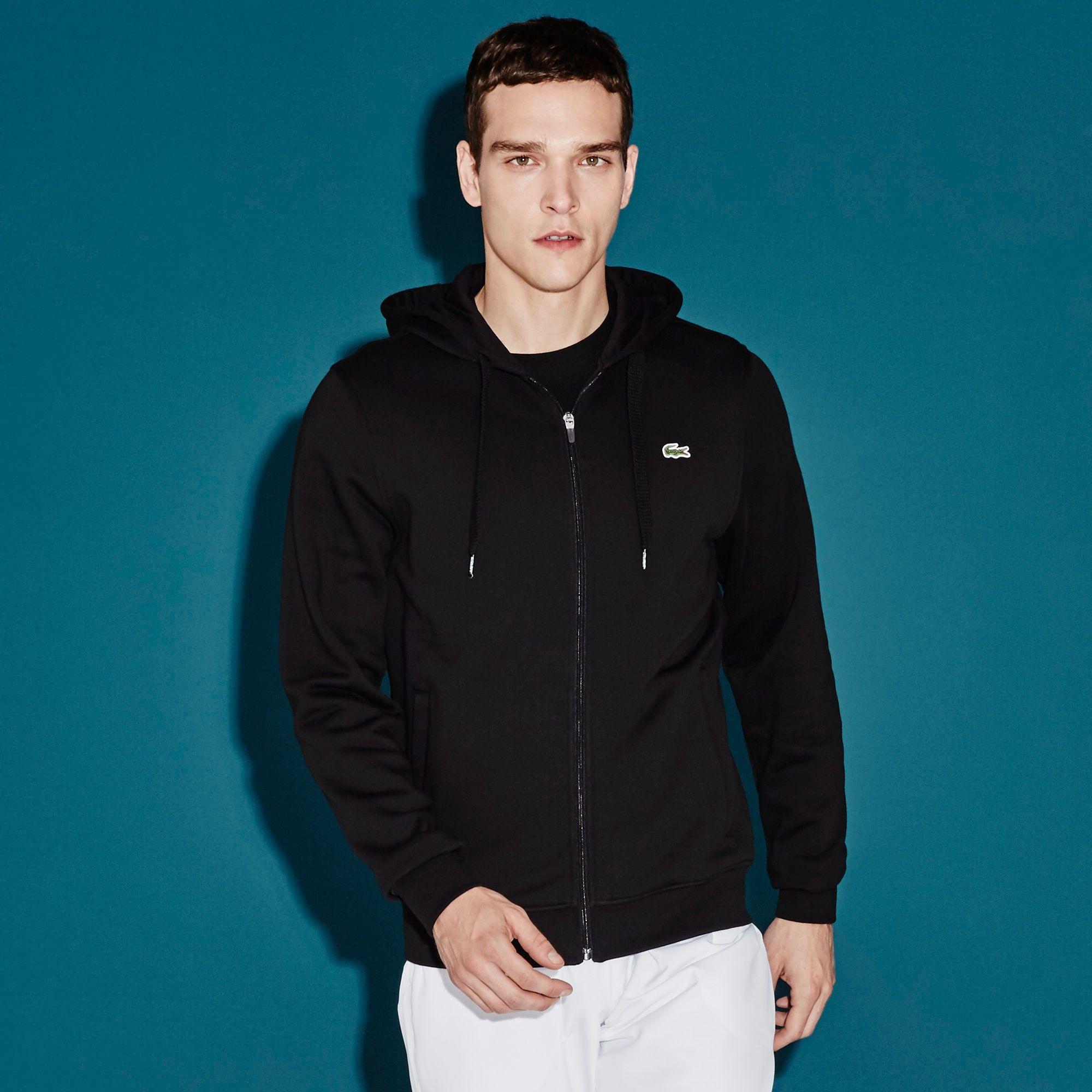 LACOSTE Men'S Sport Hoodie Fleece Tennis Sweatshirt - Black ...