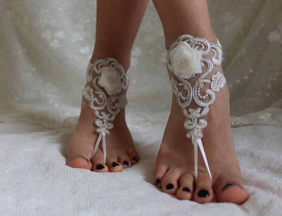 Ivoire Dentelle Barefoot Sandals, mariage de plage en dentelle Chaussures, Barefoot Sandales Dentelle, mariage Bangla, dentelle, Barefoot