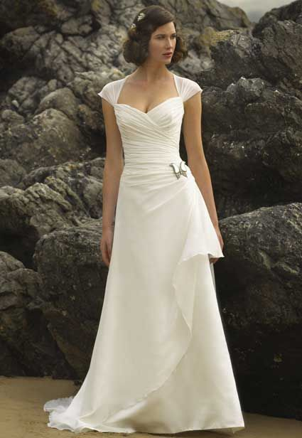 Simple cap sleeve wedding dress for older brides over 40 for Mature second wedding dresses