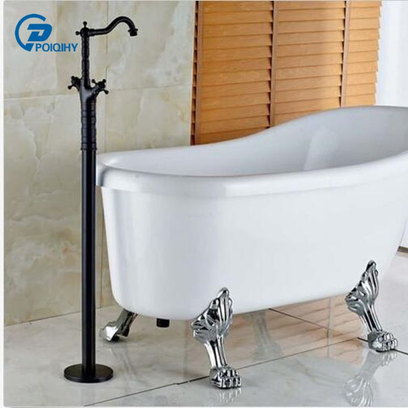 Poiqihy Orb Finished Bathtub Faucet Dual Cross Handles Floor Mount