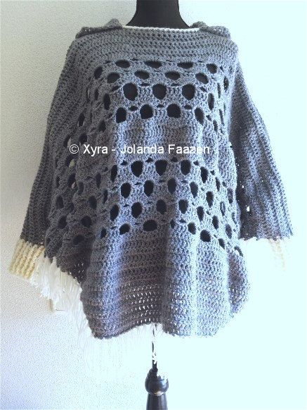 Patrón de Xyra PATR1032-crochet-poncho con mangas por XyraCreaties ...