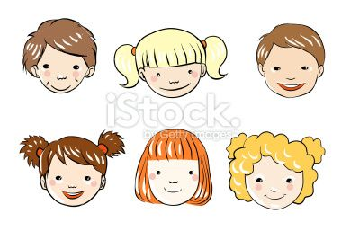Six Kids Faces Heads Vector Eps File And Jpg Dessin