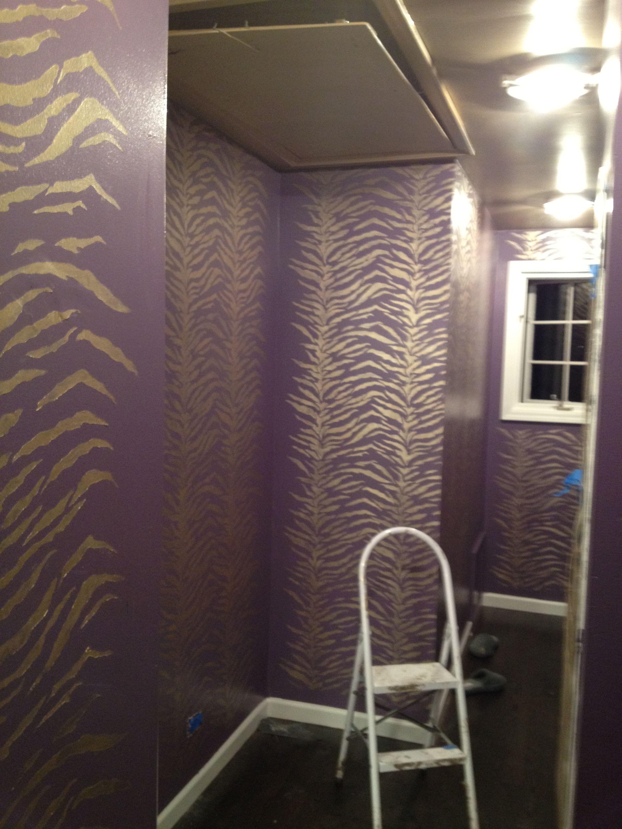 Paint Job Purple Walls Gold Stenciled Tiger