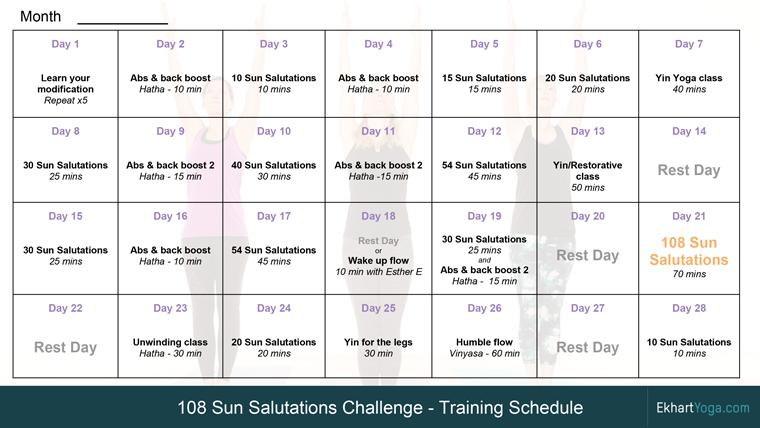 The 108 Sun Salutations Training Plan Ekhart Yoga 108 Sun Salutations Sun Salutation Training Plan