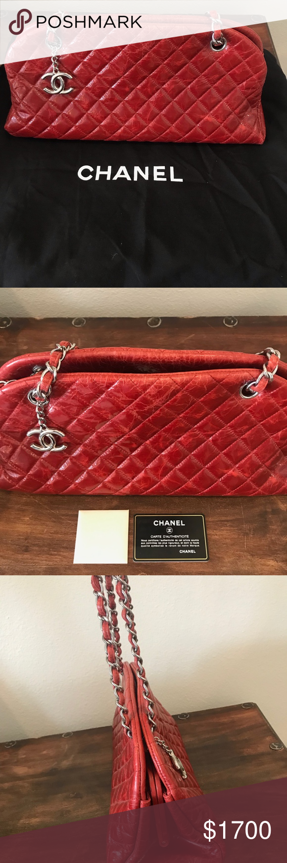 987d1037cc3846 Chanel Just Mademoiselle Medium Chanel Just Mademoiselle Medium Crimson  quilted red glazed aged calfskin in like new condition.