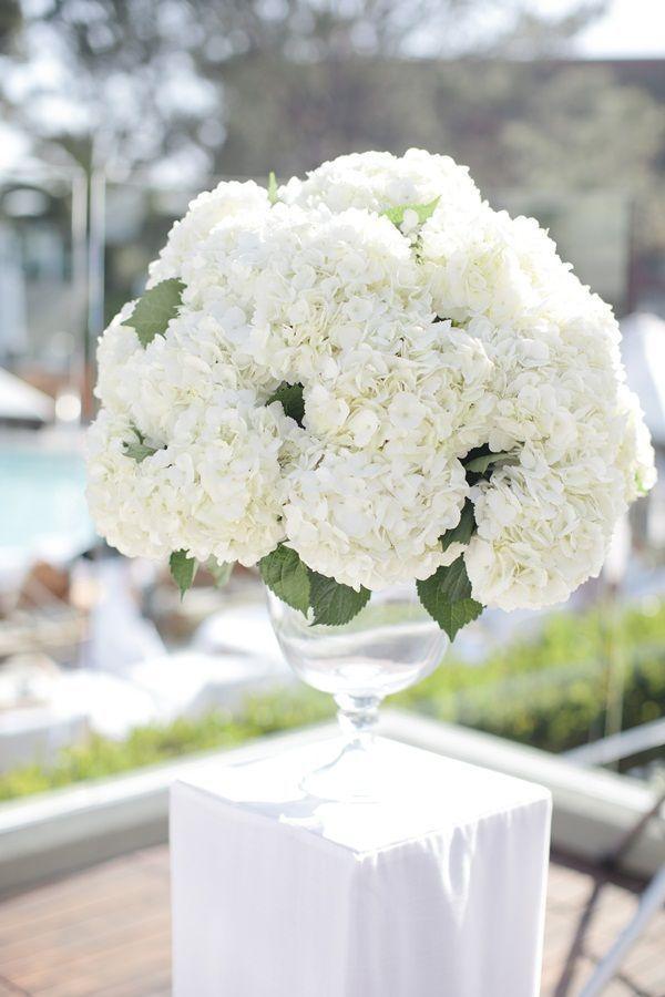 Full White Hydrangea Centerpiece White Hydrangea Centerpieces