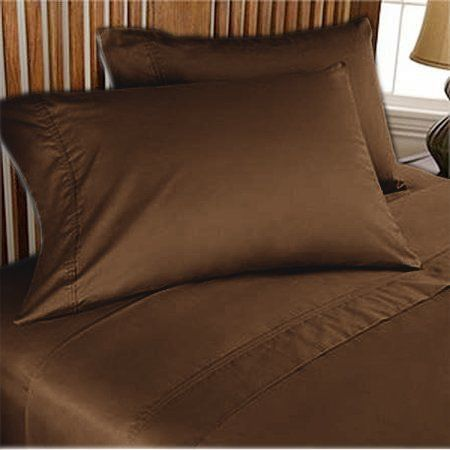 Luxury Egyptian Cotton Set of 2 Pillowcase 600 TC All Size Chocolate Solid