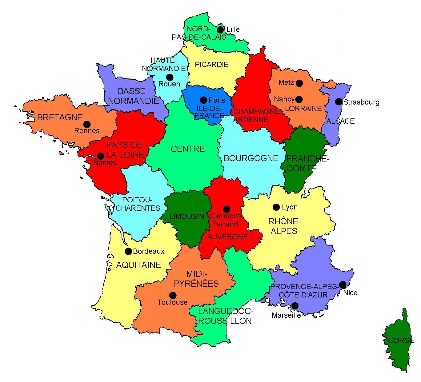 carte de france villes principales et regions Les repères chronologiques et spatiaux | France, Carte de france