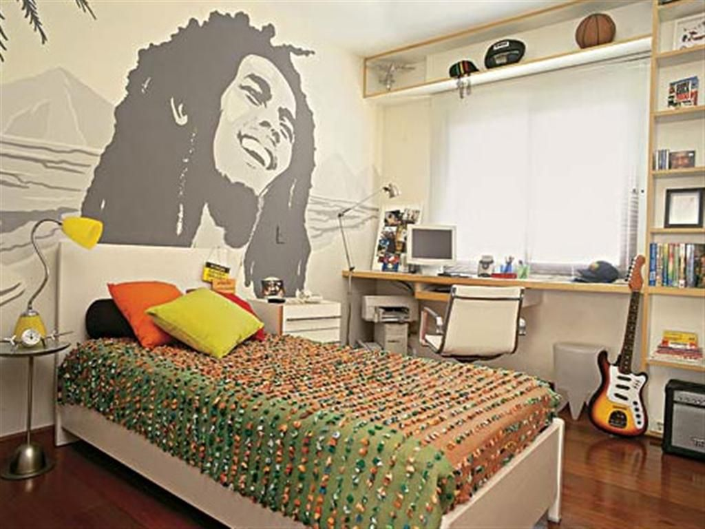 Teenage boys bedroom ideas - Teens Bedroom Mesmerizing Teenage Bedroom Ideas With Bob Marley Sketch Wallpaper Teenage Bedroom Ideas And Red White Boys Teenage Bedrooms Also Wooden
