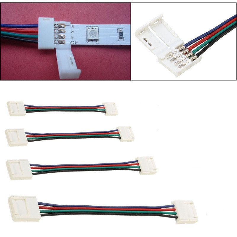 10/30/50/100CM 10MM 4 Pin RGB Connector Cable Wire Extension Cord ...