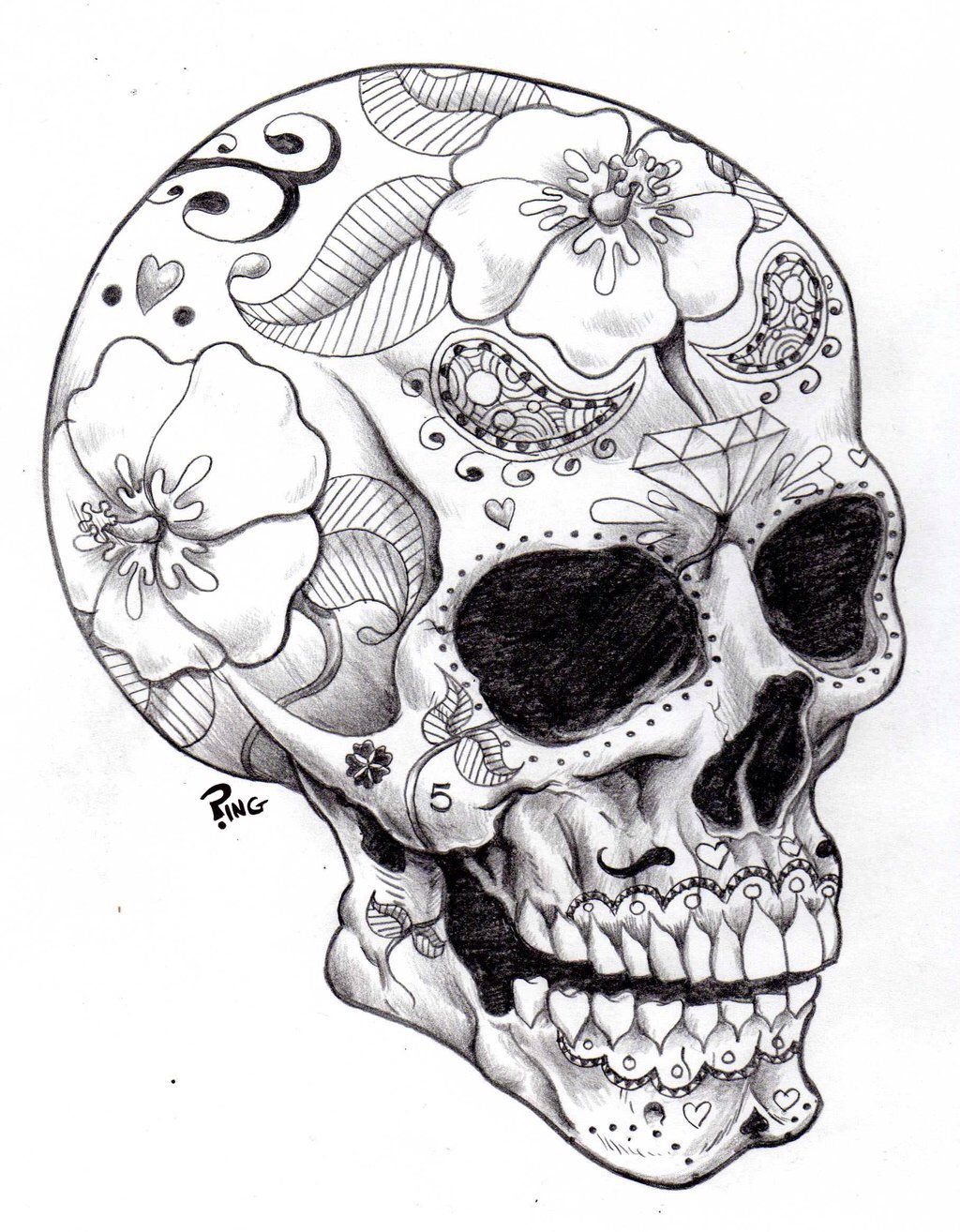 Pin By Deanna Lea On Tattoos Skull Coloring Pages Skull Art Skull