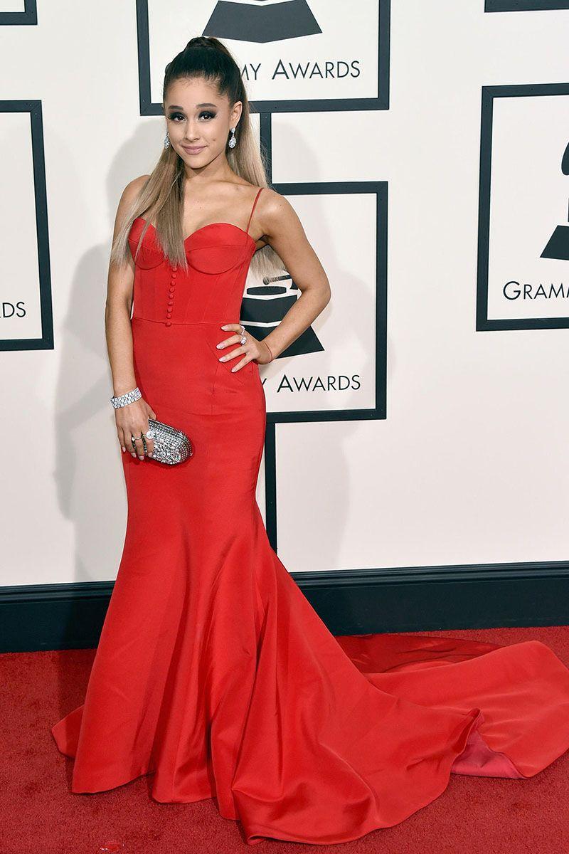Ariana grande red mermaid celebrity evening prom dress grammy awards