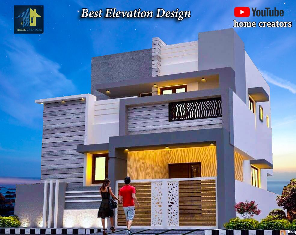 Modern Front Side House Front Elevation Designs For Double Floor