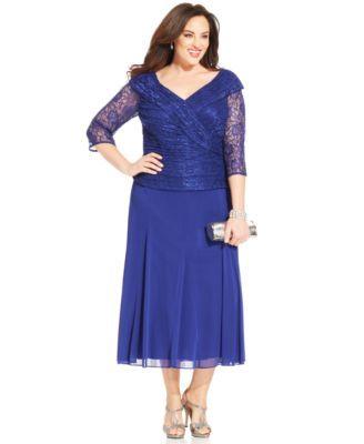 alex evenings plus size lace portrait-collar dress | macys
