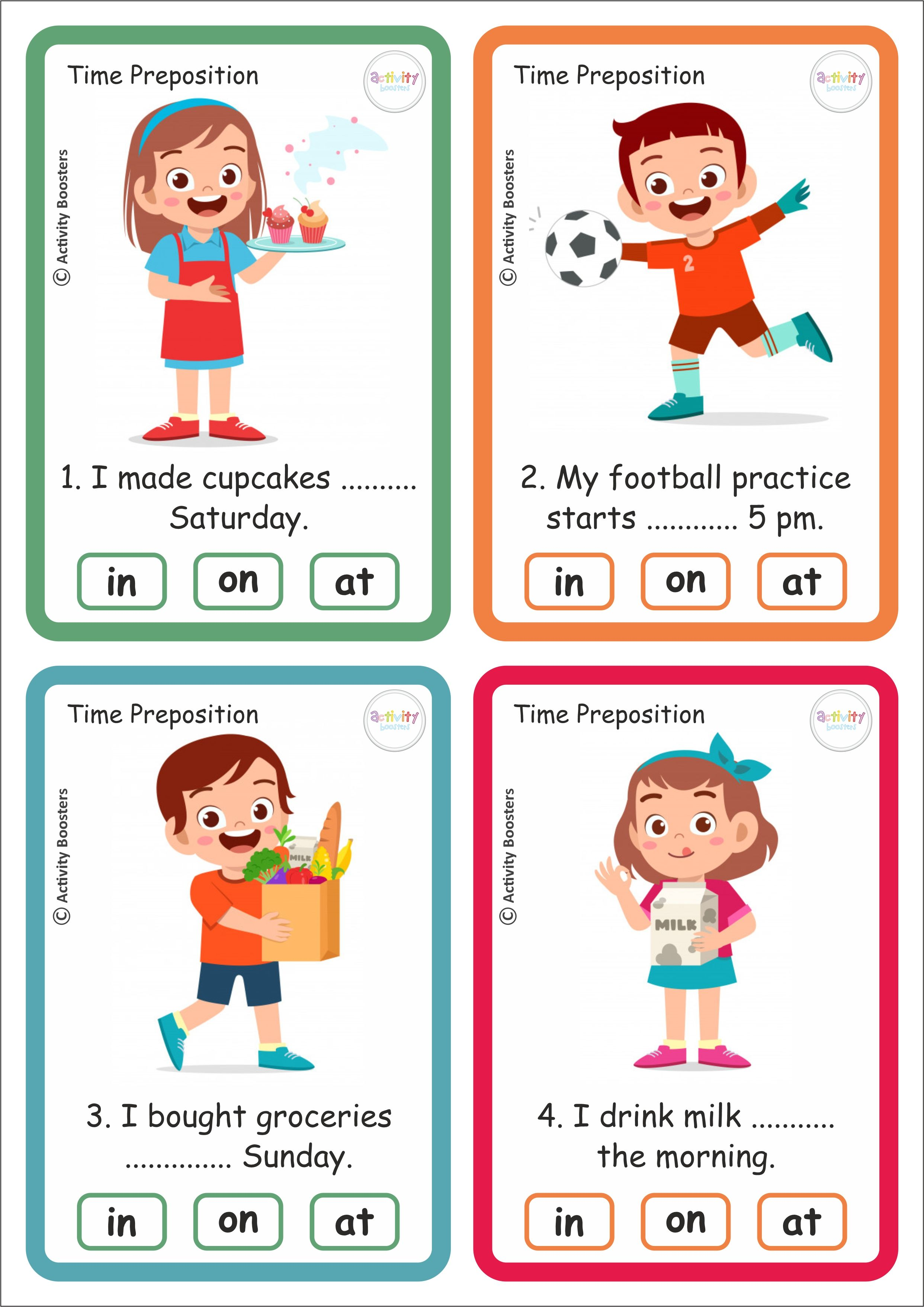 Time Preposition 40 Task Cards And Answer Sheet Download
