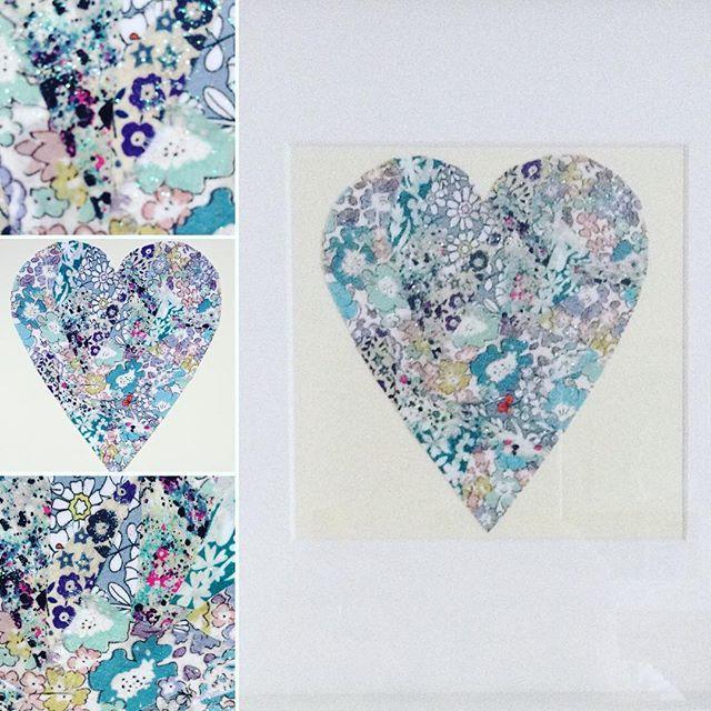 Liberty fabric heart  #libertyfabric #blueflowers #fabriccollage