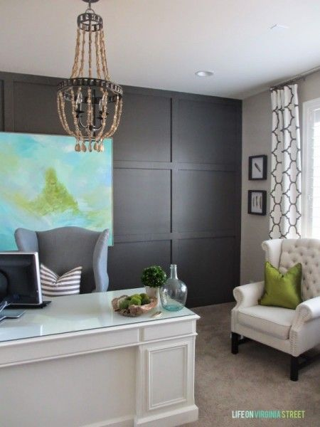 Remodelaholic Dark Gray Painted Fireplace Focal Wall Rustic Home Offices Home Office Design Home Office Decor