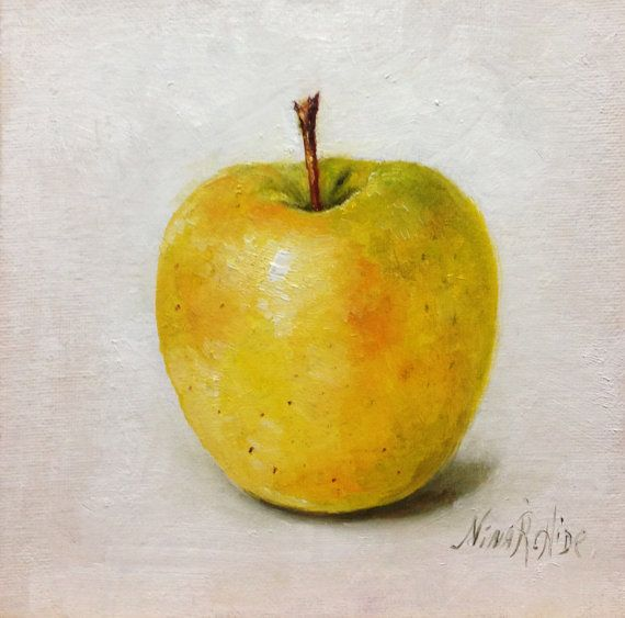 Yellow Apple Original Oil Painting by Nina R.Aide Still Life Kitchen ...